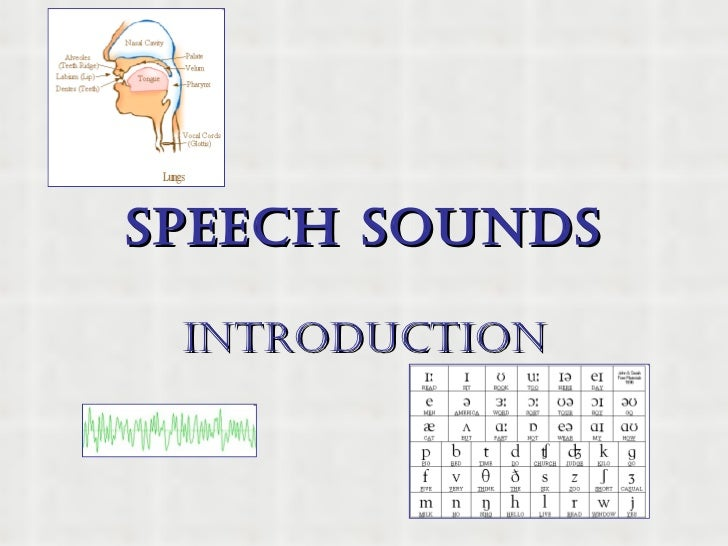 SPEECH SOUNDS INTRODUCTION