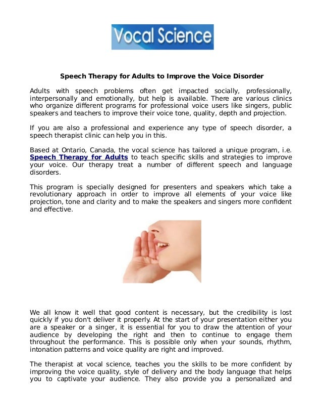 What is Adult Speech Therapy?