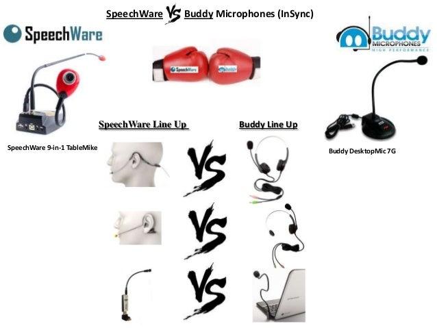 SpeechWare VS. Buddy Microphones (InSync)  SpeechWare Line Up SpeechWare 9-in-1 TableMike  Buddy Line Up Buddy DesktopMic ...