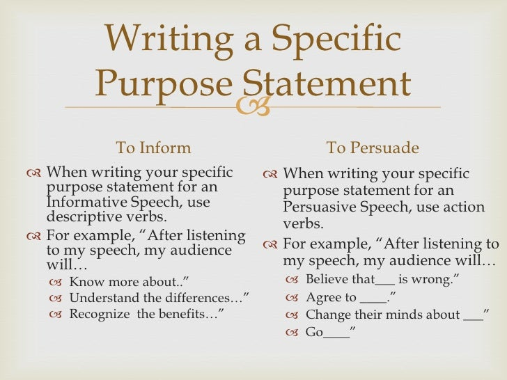 speech writing introduction and conclusion writing a specific purpose statement  to