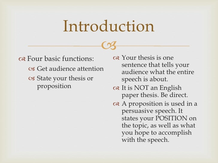 thesis statement for speech of introduction