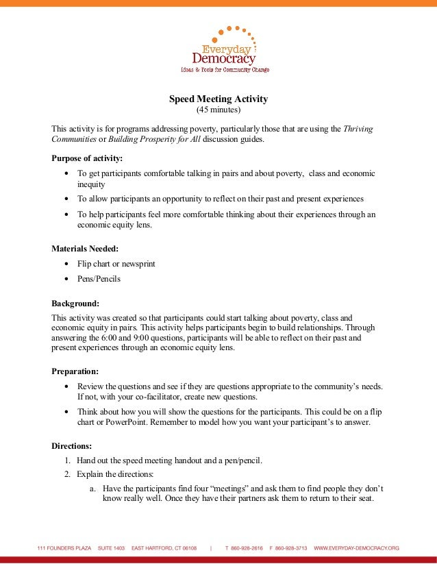 Speed Meeting Activity (45 minutes) This activity is for programs addressing poverty, particularly those that are using th...