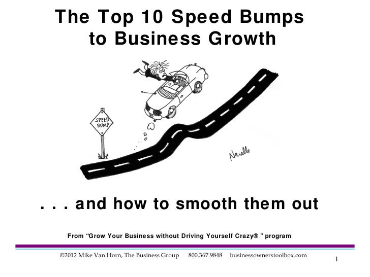 """The Top 10 Speed Bumps    to Business Growth. . . and how to smooth them out    From """"Grow Your Business without Driving Y..."""