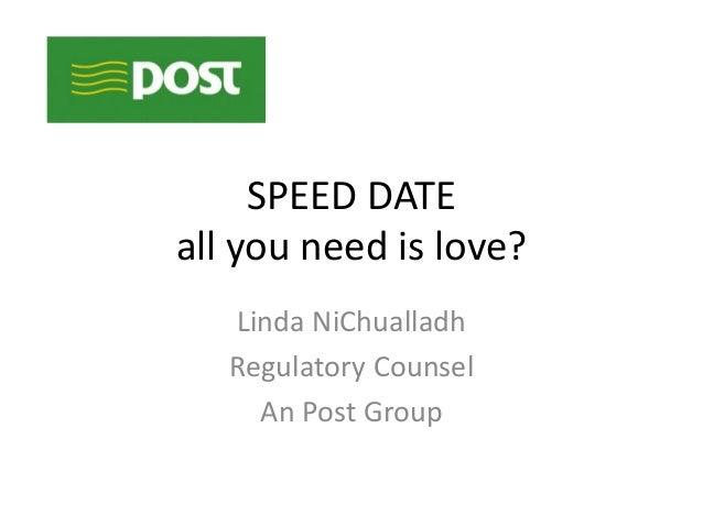 SPEED DATEall you need is love?Linda NiChualladhRegulatory CounselAn Post Group