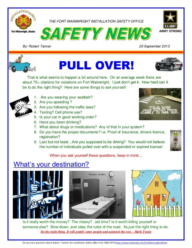 1 Do you have questions about Safety? Contact the Installation Safety Office 353-7085/7079 https://www.facebook.com/FortWa...
