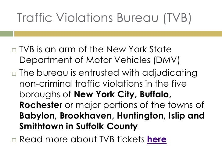 department of motor vehicles traffic violations bureau