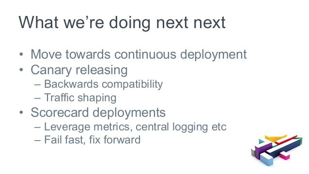 • Move towards continuous deployment • Canary releasing – Backwards compatibility – Traffic shaping • Scorecard deplo...