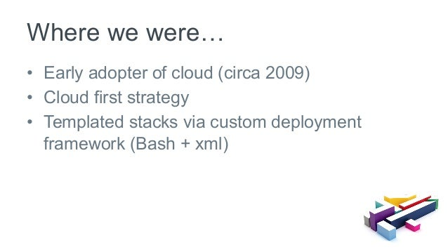 • Early adopter of cloud (circa 2009) • Cloud first strategy • Templated stacks via custom deployment framework (Bash +...