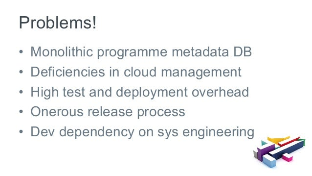 • Monolithic programme metadata DB • Deficiencies in cloud management • High test and deployment overhead • Onerous re...