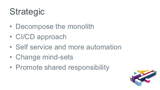 • Decompose the monolith • CI/CD approach • Self service and more automation • Change mind-sets • Promote shared resp...