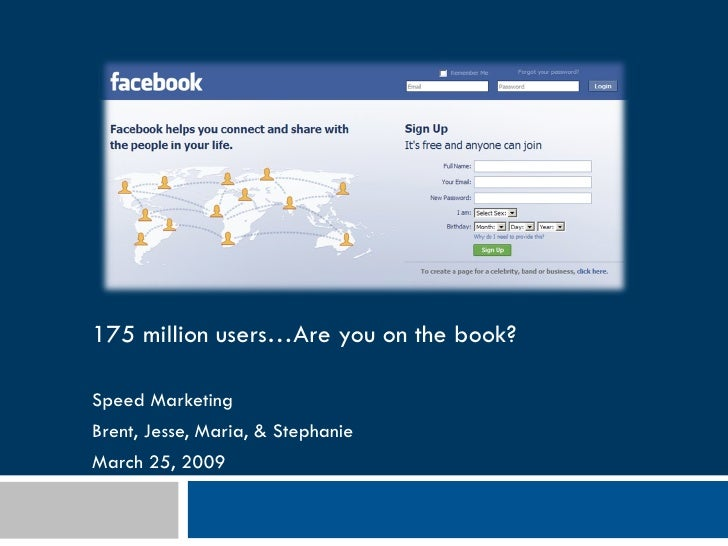 175 million users…Are you on the book? Speed Marketing  Brent, Jesse, Maria, & Stephanie March 25, 2009