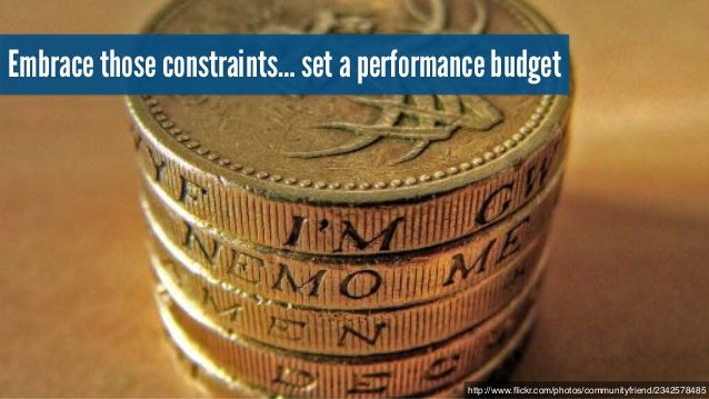 Setting a budget An event that matters to the visitor! within a set time! under defined network conditions