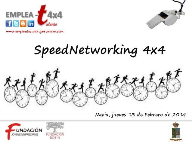 www.empleatecuatroporcuatro.com  SpeedNetworking 4x4  Navia, jueves 13 de Febrero de 2014