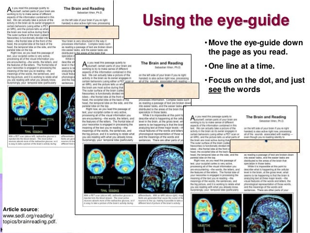 HaroonUsing the eye-guide•Move the eye-guide downthe page as you read.•One line at a time.•Focus on the dot, and justsee t...