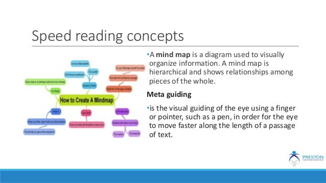 Speed reading concepts •A mind map is a diagram used to visually organize information. A mind map is hierarchical and show...