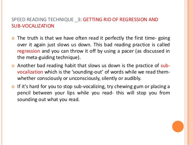 SPEED READING TECHNIQUE_5: SKIMMING  Before you start reading any type of material, define your objective.  If the detai...