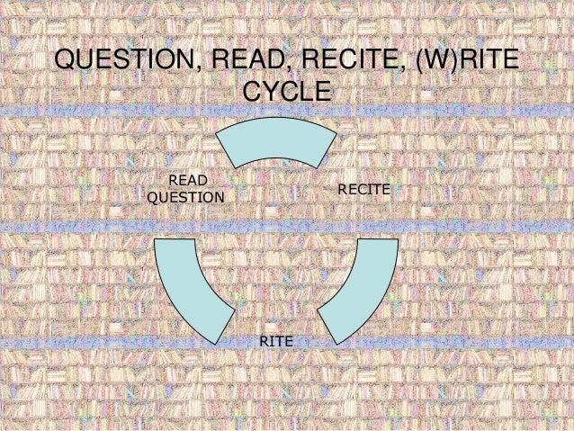 QUESTION, READ, RECITE, (W)RITE  CYCLE  RECITE  RITE  READ  QUESTION