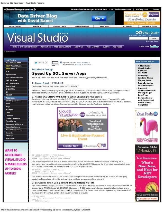 Speed Up SQL Server Apps -- Visual Studio Magazine                                                                        ...