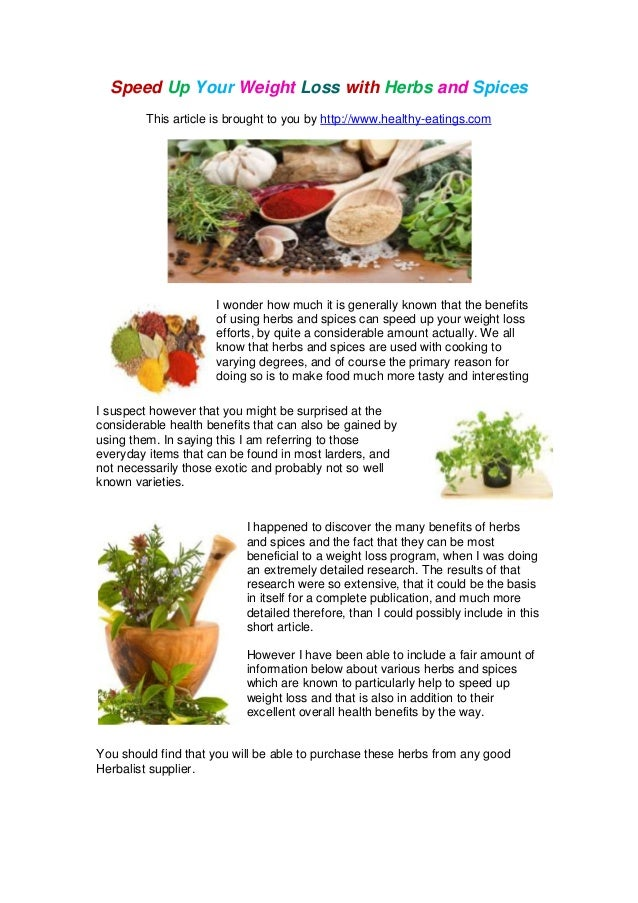 herbs for weight loss list