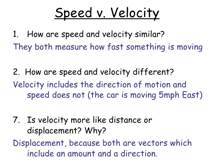 Speedvelocityacceleration – Speed and Velocity Worksheet