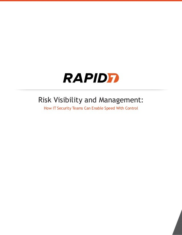Risk Visibility and Management: How IT Security Teams Can Enable Speed With Control