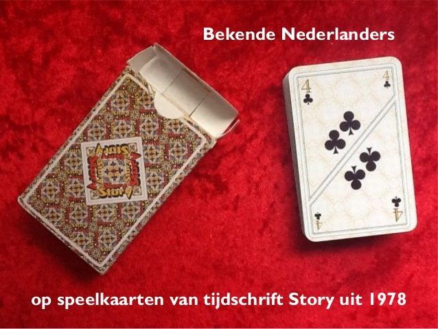 Bekende Nederlanders op speelkaarten van tijdschrift Story uit 1978
