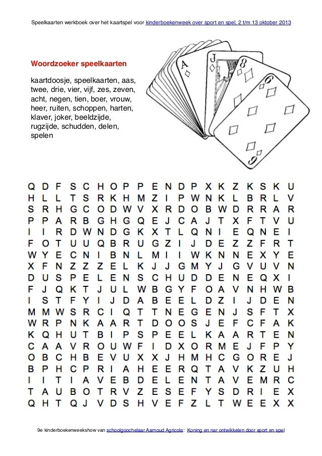Speelkaarten Werkboek Voor Kinderboekenweek 2013 Over