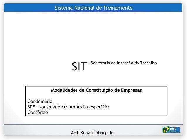 Sistema Nacional de Treinamento                    SIT                             Secretaria de Inspeção do Trabalho     ...