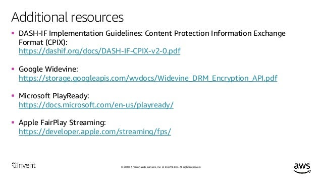 SPEKE-ing of Content Protection & DRM (MAE302) - AWS re