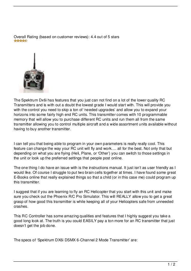 Spektrum DX6i RC Controller Review