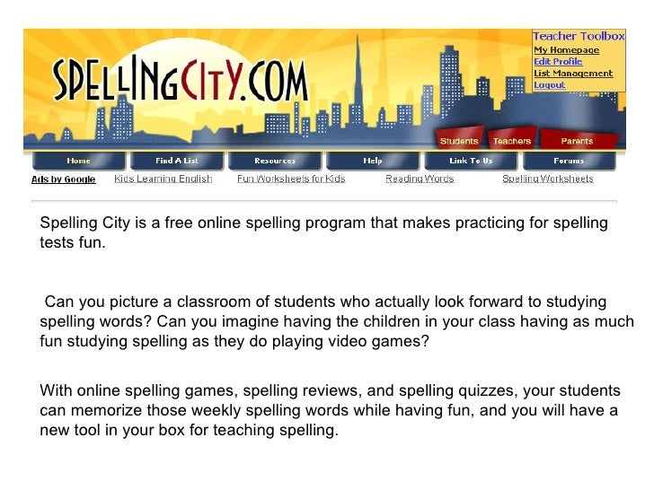 Spelling City is a free online spelling program that makes practicing for spelling tests fun. Can you picture a classroom ...