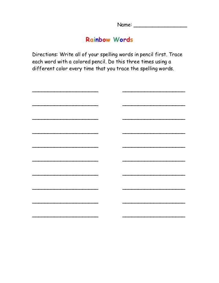 rainbow writing spelling words template - rainbow words homework