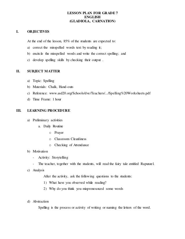 spelling lesson plan lesson plan for grade 7 english gladiola carnation i objectives at the