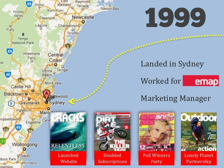 Landed in Sydney                           Worked for EMAP                           Marketing ManagerLaunched     Doubled...