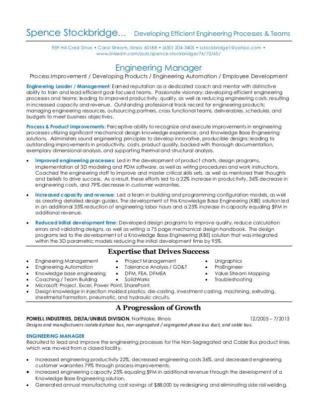 Resume of Spence stockbridge mechanical engineering professional