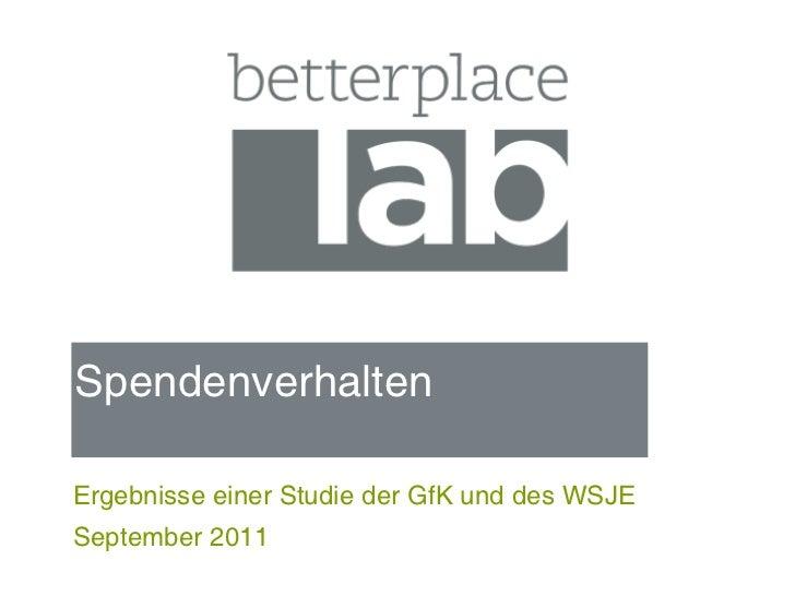 Spendenverhaltenim internationalen VergleichErgebnisse einer Studie der GfK und des WSJESeptember 2011