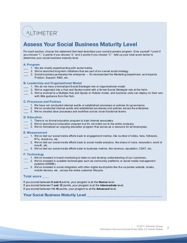 ! © 2011 Altimeter Group Attribution-Noncommercial-Share Alike 3.0 United States ! ! 7 Assess Your Social Business Maturit...