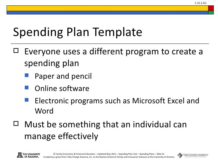 Spending plans module 16 – Spend Plan Template
