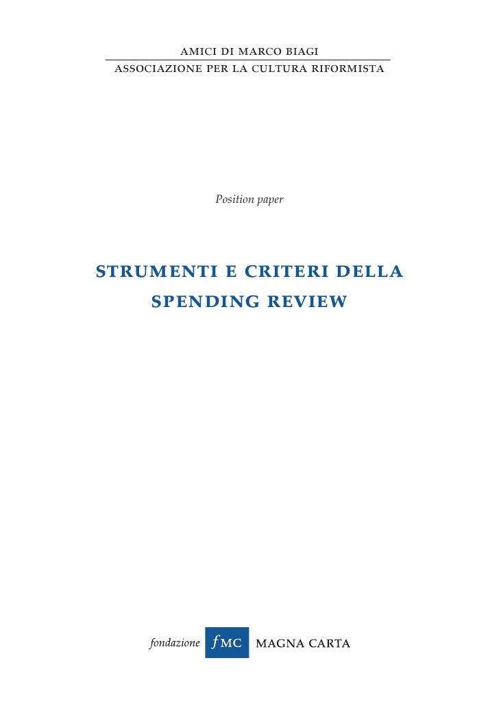 amici di marco biagi associazione per la cultura riformista               Position paperstrumenti e criteri della    spend...
