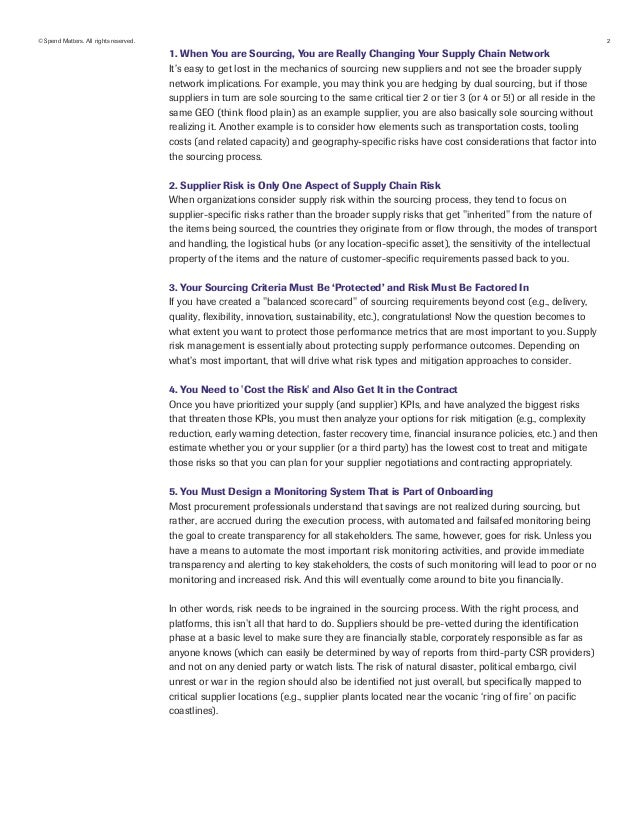 Spend Matters Whitepaper: Supply chain risk management in the context…