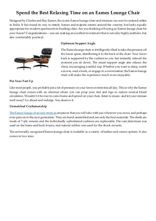 Brilliant Spend The Best Relaxing Time On An Eames Lounge Chair Beatyapartments Chair Design Images Beatyapartmentscom