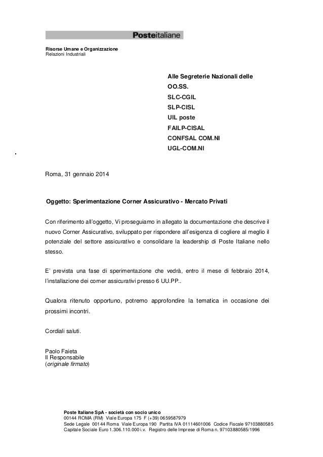 Risorse Umane e Organizzazione Relazioni Industriali  Alle Segreterie Nazionali delle OO.SS. SLC-CGIL SLP-CISL UIL poste F...