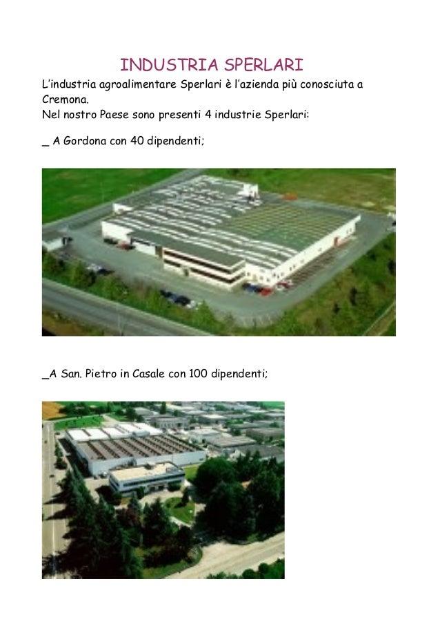 INDUSTRIA SPERLARI L'industria agroalimentare Sperlari è l'azienda più conosciuta a Cremona. Nel nostro Paese sono present...