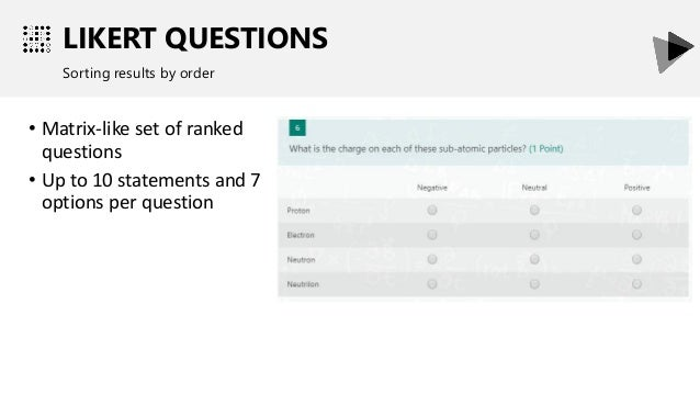LIKERT QUESTIONS Sorting results by order • Matrix-like set of ranked questions • Up to 10 statements and 7 options per qu...