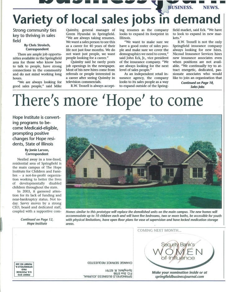 There's more 'Hope' to come Hope Institute is convert- ing programs to be- come Medicaid-eligible, prompting positive chan...