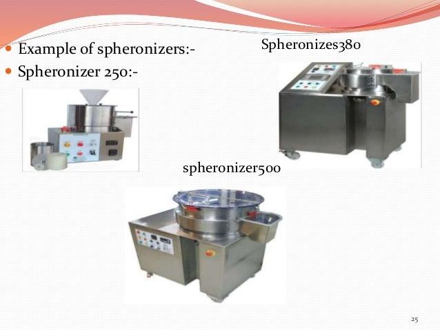  Example of spheronizers:-   Spheronizer 250:-  25  Spheronizes380  spheronizer500