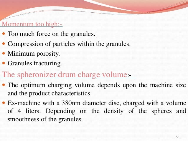 Momentum too high:-   Too much force on the granules.   Compression of particles within the granules.   Minimum porosit...