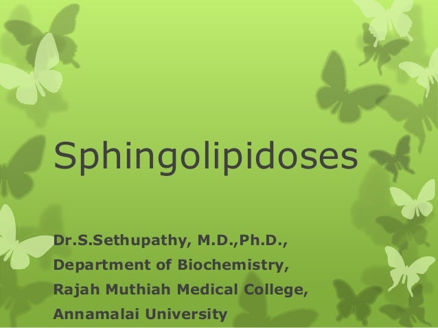 Sphingolipidoses Dr.S.Sethupathy, M.D.,Ph.D., Department of Biochemistry, Rajah Muthiah Medical College, Annamalai Univers...
