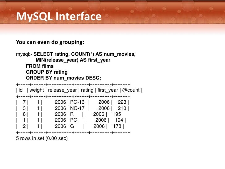 MySQL InterfaceYou can even do grouping:mysql> SELECT rating, COUNT(*) AS num_movies,          MIN(release_year) AS first_...