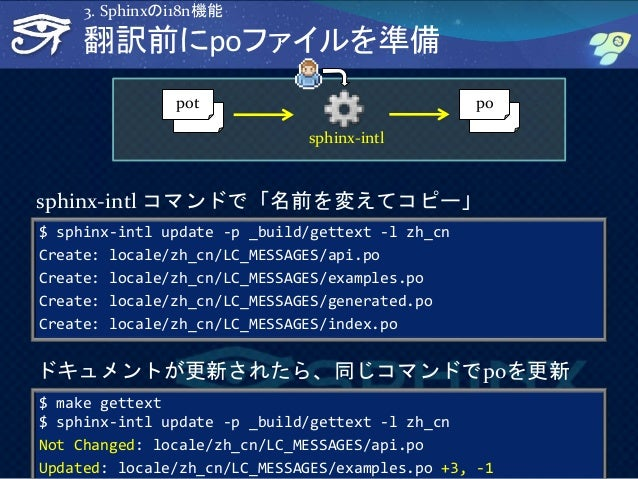 34 翻訳前にpoファイルを準備 $ sphinx-intl update -p _build/gettext -l zh_cn Create: locale/zh_cn/LC_MESSAGES/api.po Create: locale/zh...